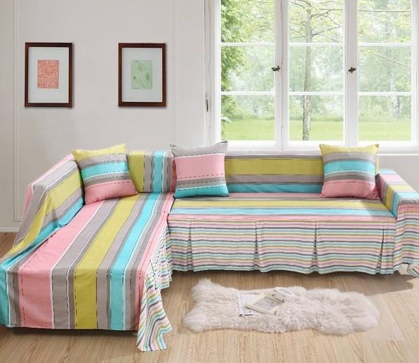 trang trí sofa với kẻ sọc, kẻ caro
